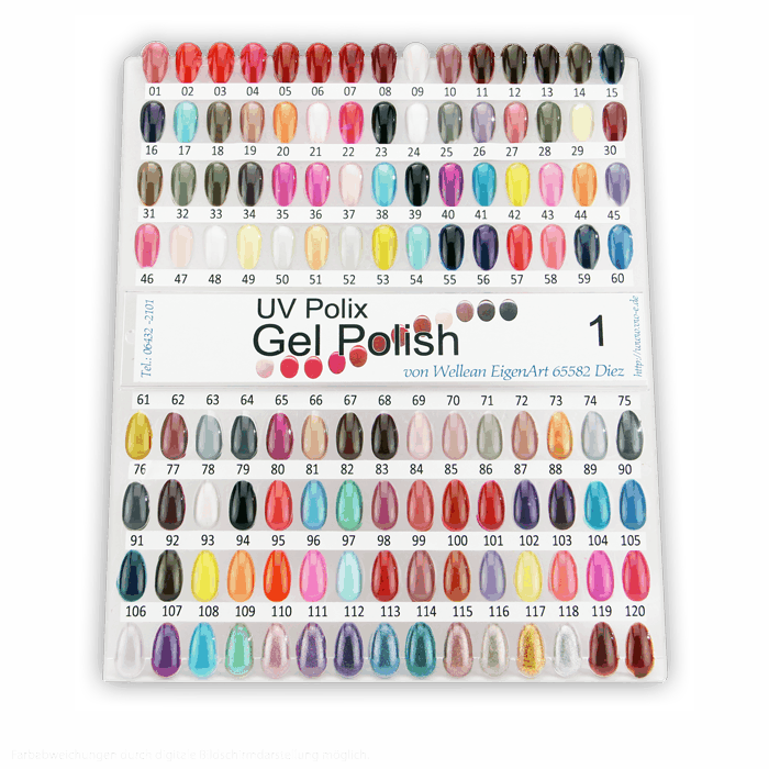 UV Gel Polish Colour Chart 1